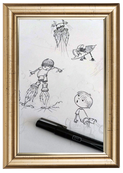 Image of Priscilla's sketching for Rocket Boots