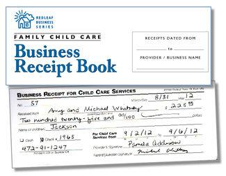 Family Child Care Business Receipt Book  Payment Receipt Book