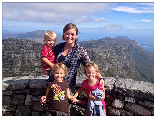 Emily Plank with her children in South Africa