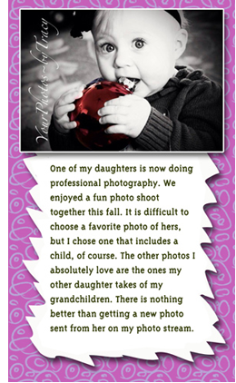 Pic of Deborah's grandaughter from her daughter photography photos