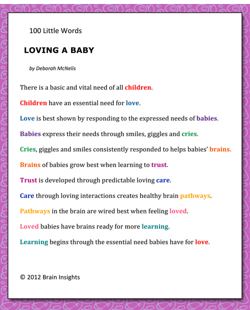 A poem written by Deborah McNelis titled 100 little words--Loving a Baby