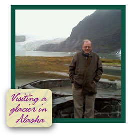 Tom Copeland visiting a glacier in Alaska